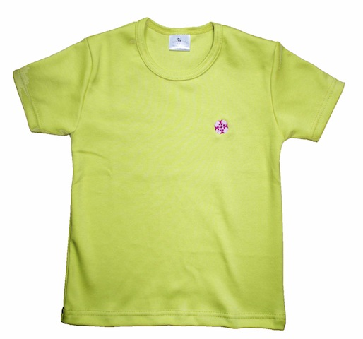 Tshirt BIO vert brodé fleur japonaise