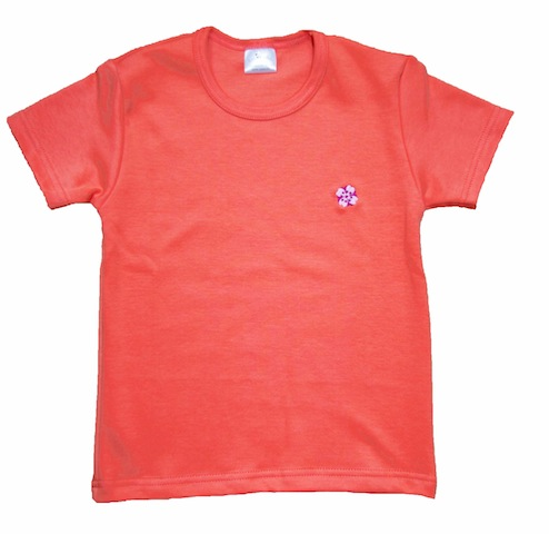 Tshirt BIO corail brodé fleur japonaise
