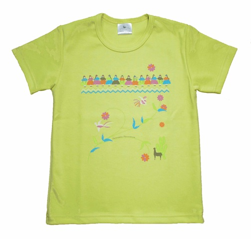 Tshirt BIO vert Farandole péruvienne BD