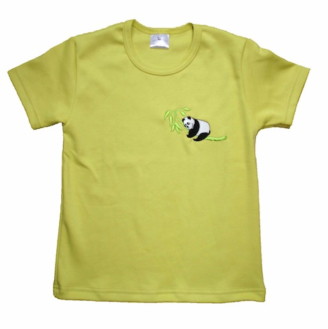 Tshirt BIO vert brodé panda